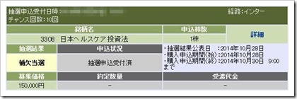日本ヘルスケア投資法人IPO補欠当選画像