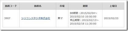 シリコンスタジオ(3907)IPOカブコム