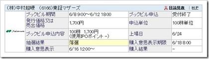 中村超硬(6166)IPO落選