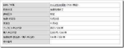かんぽ生命保険(7181)IPO当選
