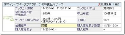 インベスターズクラウド(1435)IPO落選