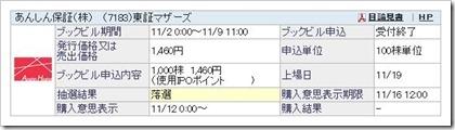 あんしん保証(7183)IPO落選