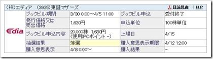 エディア(3935)IPO落選