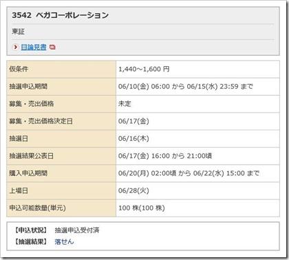 ベガコーポレーション(3542)IPO落選