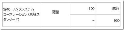 ノムラシステムコーポレーション(3940)IPO落選