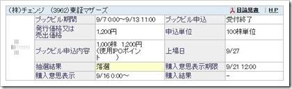 チェンジ(3962)IPO落選