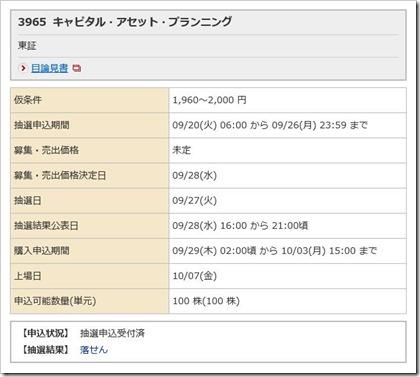 キャピタル・アセット・プランニング(3965)IPO落選