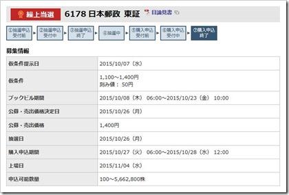 日本郵政(6178)IPO繰上当選
