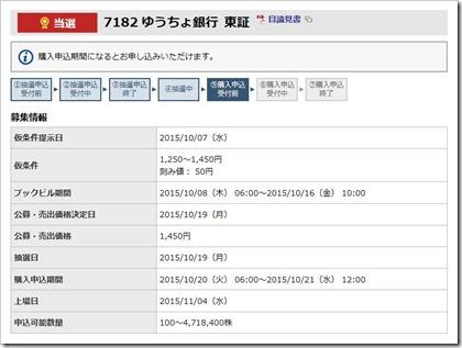 ゆうちょ銀行(7182)IPO当選