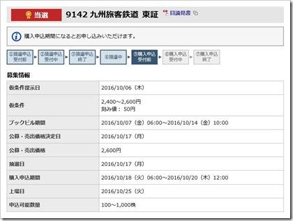 九州旅客鉄道(9142)IPO当選