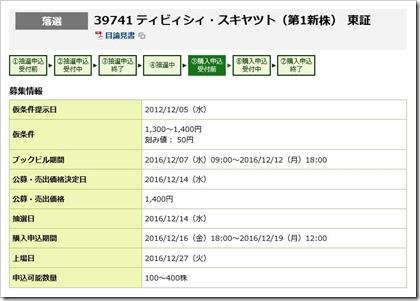 ティビィシィ・スキヤツト(3974)IPO落選