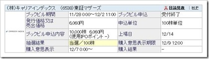 キャリアインデックス(6538)IPO当選
