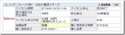ソレイジア・ファーマ(4597)IPO落選