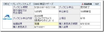 ビーブレイクシステムズ(3986)IPO落選