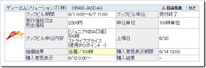 ディーエムソリューションズ(6549)IPO当選