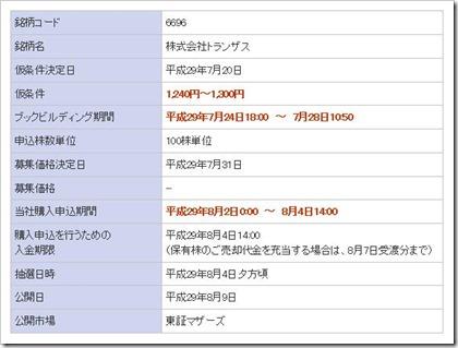トランザス(6696)IPO楽天証券