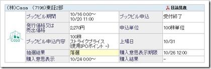 Casa(7196)IPO落選