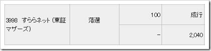 すららネット(3998)IPO落選