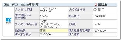 カチタス(8919)IPO落選