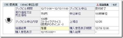 要興業(6566)IPO落選