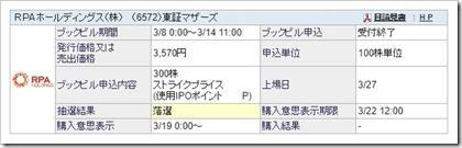 RPAホールディングス(6572)IPO落選