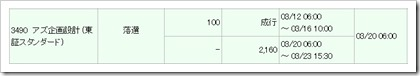 アズ企画設計(3490)IPO落選