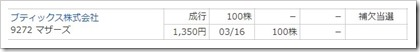 ブティックス(9272)IPO補欠当選
