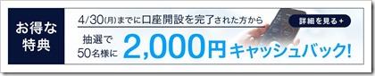 DMM株CP2,000円2018.4.30