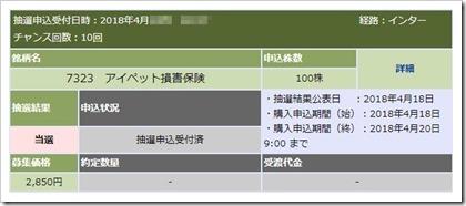 アイペット損害保険(7323)IPO当選