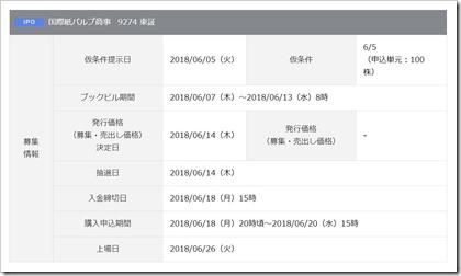 国際紙パルプ商事(9274)IPO岡三オンライン証券