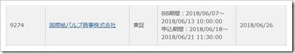 国際紙パルプ商事(9274)IPOカブドットコム証券