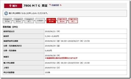 MTG(7806)IPO補欠野村
