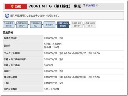 MTG(7806)IPO当選