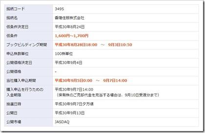 香陵住販(3495)IPO楽天証券