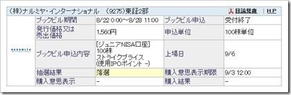 ナルミヤ・インターナショナル(9275)IPO落選