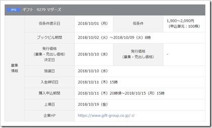 ギフト(9279)IPO岡三オンライン証券