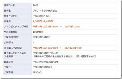 プリントネット(7805)IPO楽天証券
