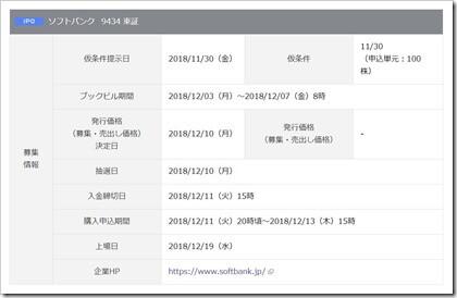 ソフトバンク(9434)IPO岡三オンライン証券