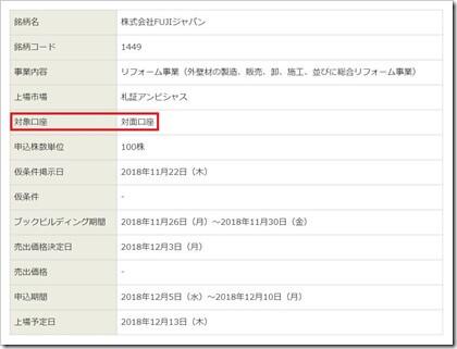 FUJIジャパン(1449)IPO藍澤證券