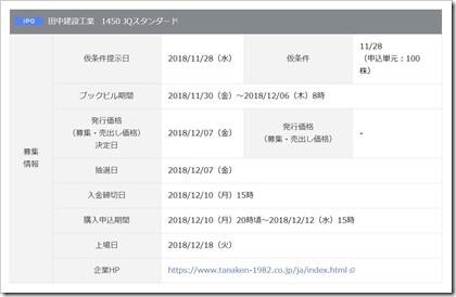 田中建設工業(1450)IPO岡三オンライン証券