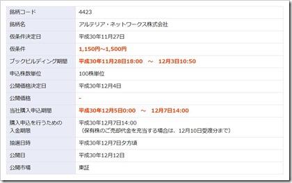 アルテリア・ネットワークス(4423)IPO楽天証券