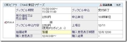 ピアラ(7044)IPO落選