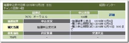 オーウエル(7670)IPO補欠当選