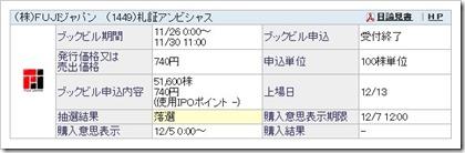FUJIジャパン(1449)IPO落選