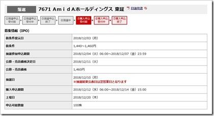 AmidAホールディングス(7671)IPO落選