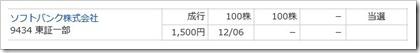 ソフトバンク(9434)IPO当選マネックス証券