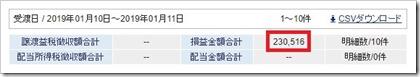 2019年株式取引初陣成績