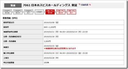 日本ホスピスホールディングス(7061)IPO落選