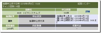 トビラシステムズ(4441)IPO選外(落選)
