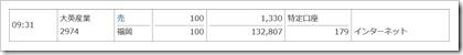 大英産業(2974)IPO初値売却